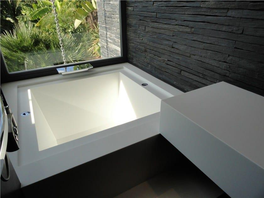 Vasca da bagno in solid surface da incasso hanex vasca - Vasca da bagno quadrata ...