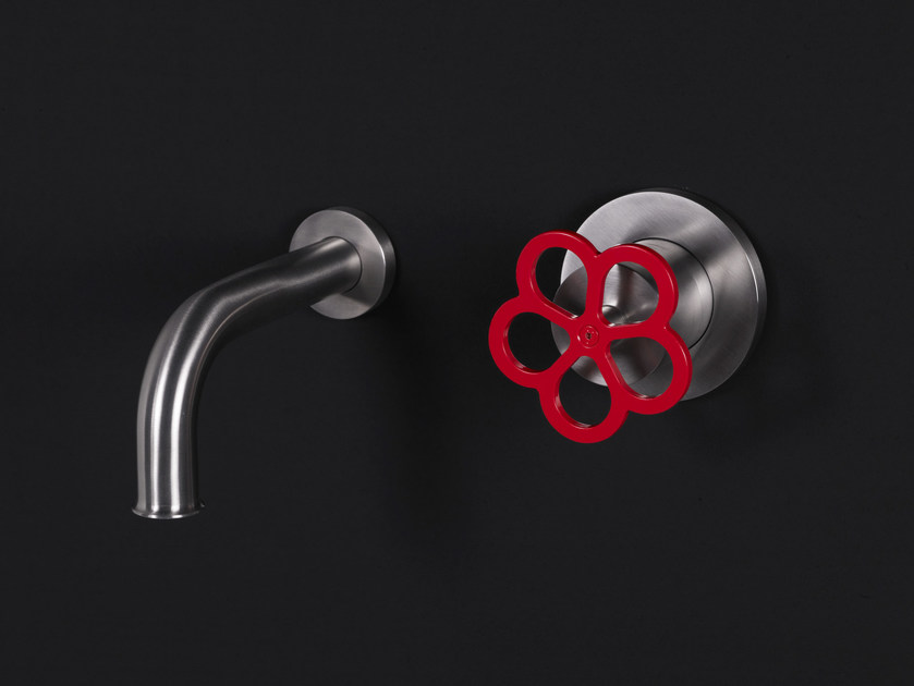 Wall-mounted brushed steel bathtub tap PIPE | Wall-mounted bathtub tap - Boffi
