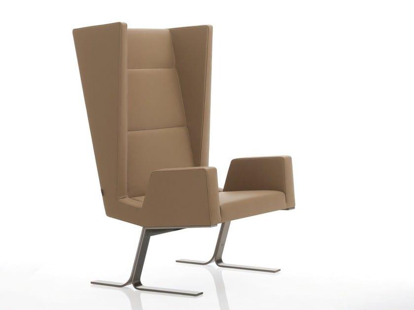 Upholstered leather armchair INKA STEEL S 200 ST S - BILLIANI