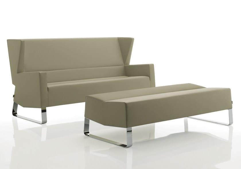Sled base high-back leather sofa INKA STEEL G 200 ST D - BILLIANI