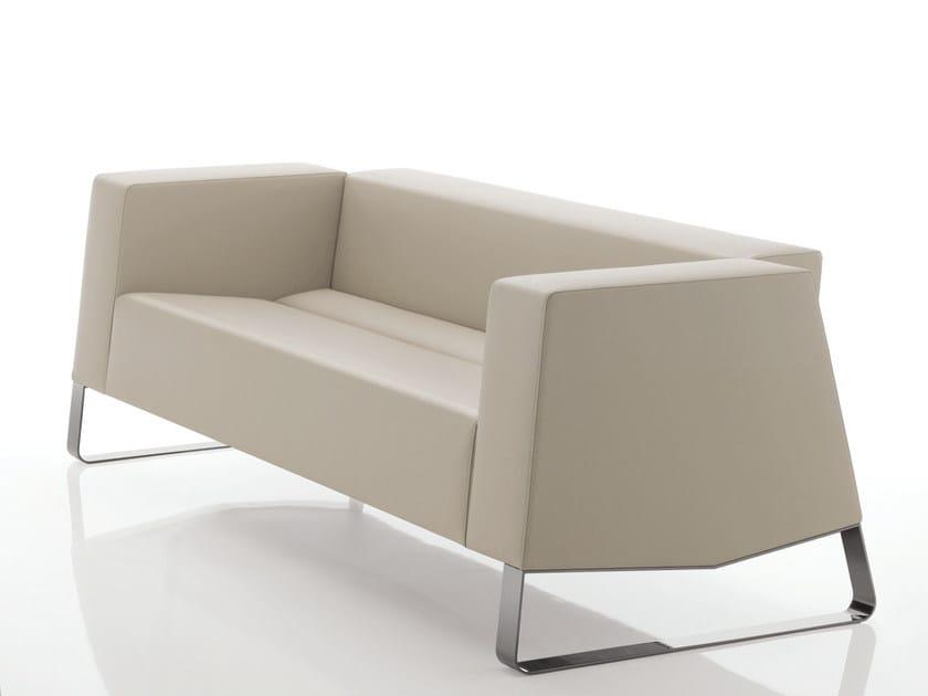 Sled base leather sofa INKA STEEL F 200 ST D - BILLIANI