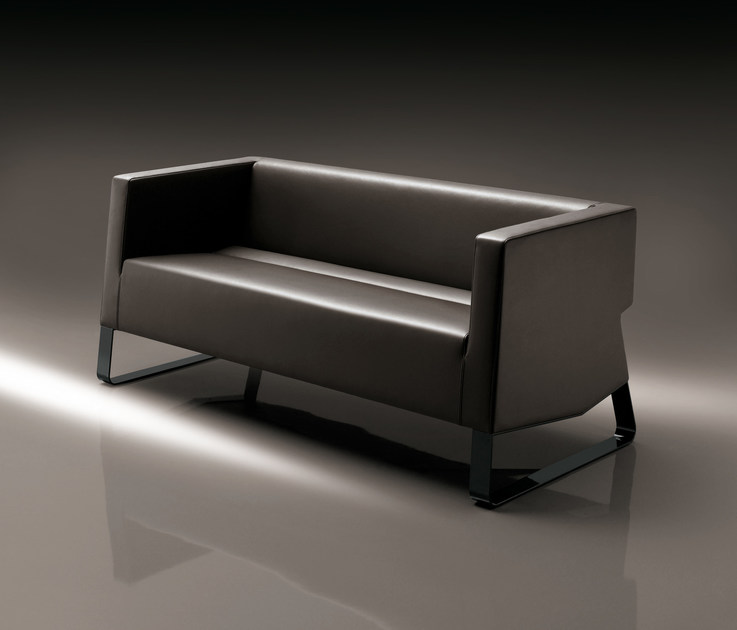 Sled base leather sofa INKA STEEL D 200 ST D - BILLIANI