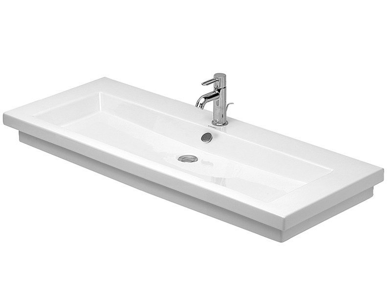 Rectangular single ceramic washbasin 2ND FLOOR | Single washbasin by Duravit