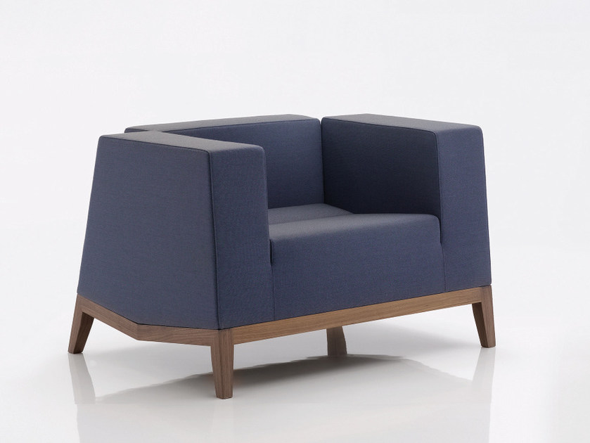 Upholstered fabric armchair with armrests INKA WOOD F 200 - BILLIANI