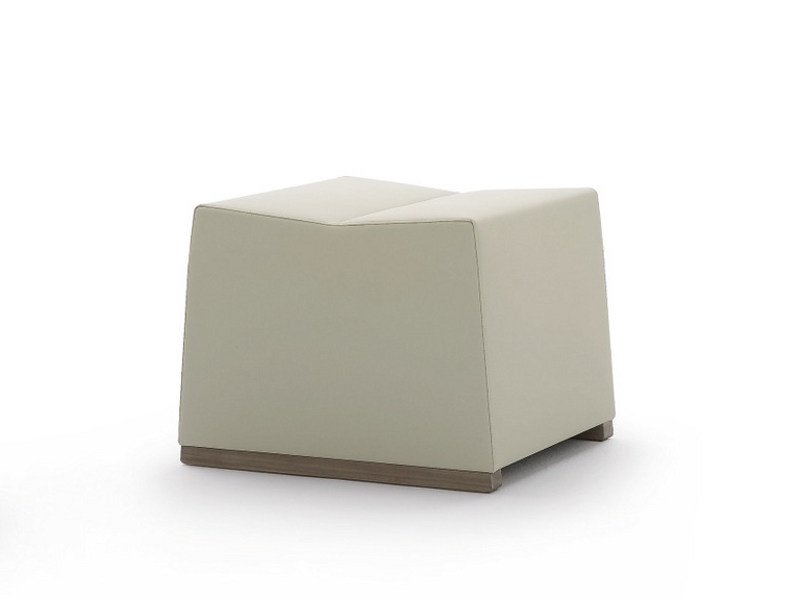 Upholstered leather pouf INKA WOOD P 50 P by BILLIANI