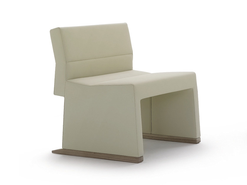 Sled base upholstered leather easy chair INKA WOOD P 400 - BILLIANI