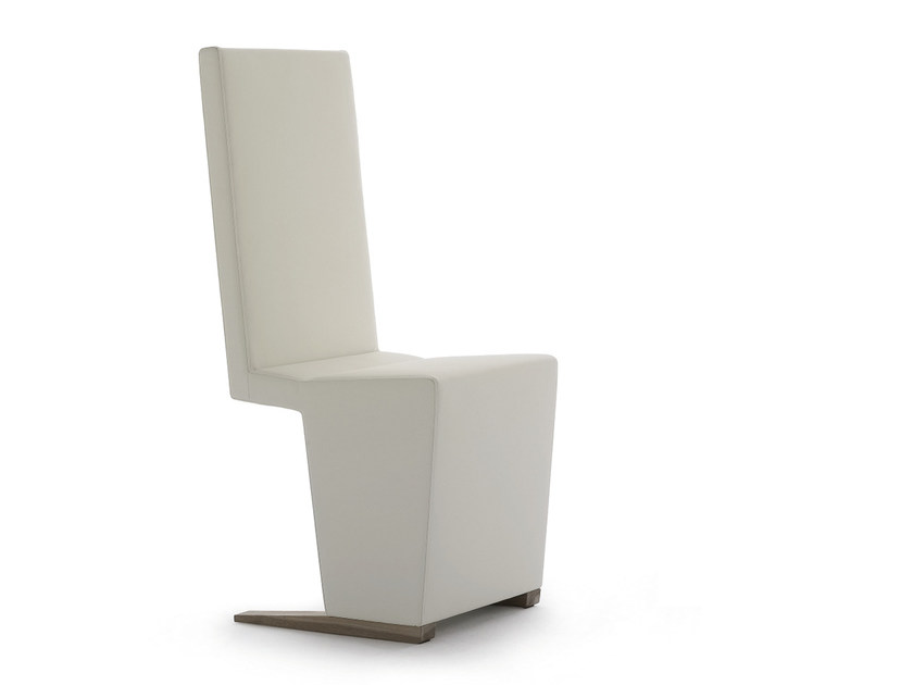 Cantilever upholstered high-back leather chair INKA WOOD H 100 - BILLIANI