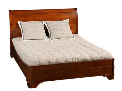 Cherry wood bed with high headboard orleans double bed - Grange louis philippe bedroom furniture ...