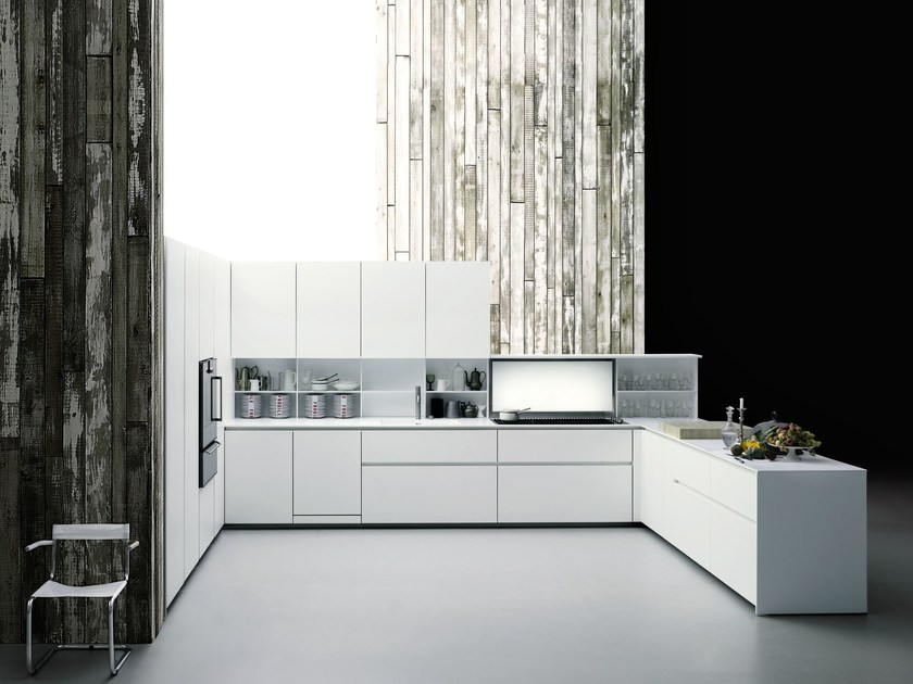 Corian® kitchen with peninsula without handles XILA - Boffi