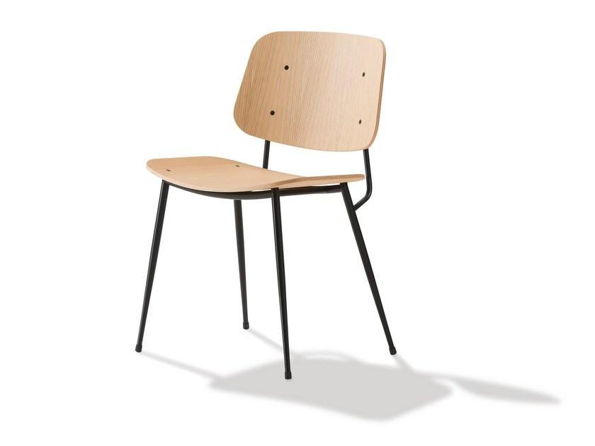 Steel and wood chair SØBORG | Chair - FREDERICIA FURNITURE