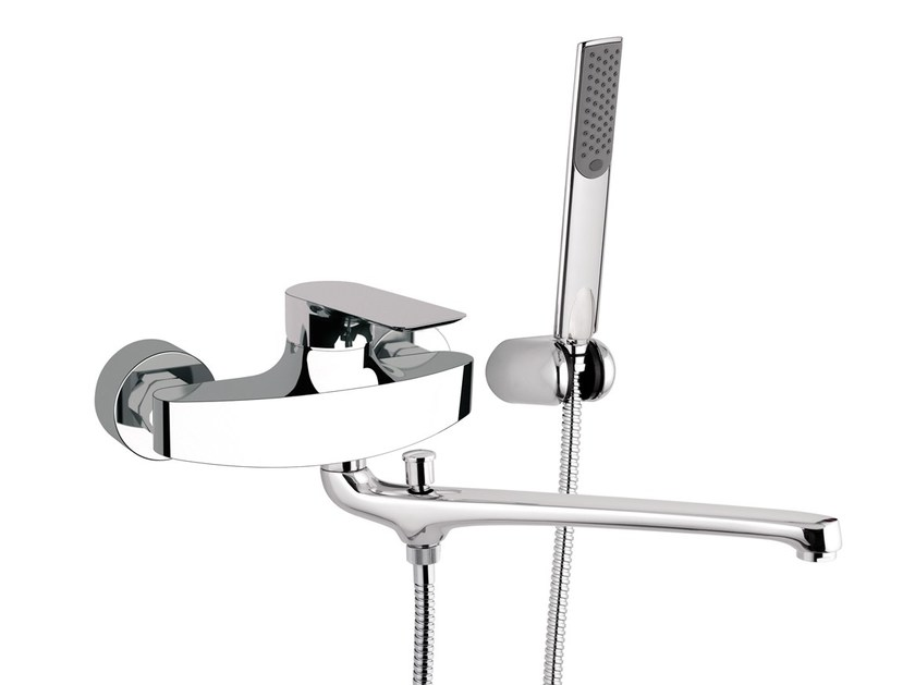 2 hole bathtub mixer with hand shower INFINITY | Bathtub mixer with hand shower - Remer Rubinetterie