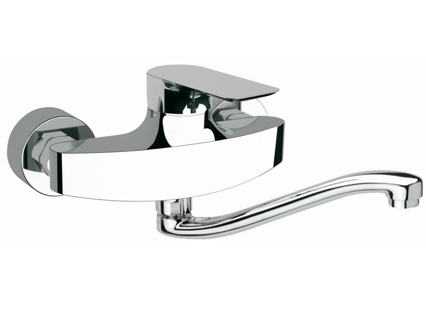 Wall-mounted kitchen mixer tap with swivel spout INFINITY | Wall-mounted kitchen mixer tap - Remer Rubinetterie
