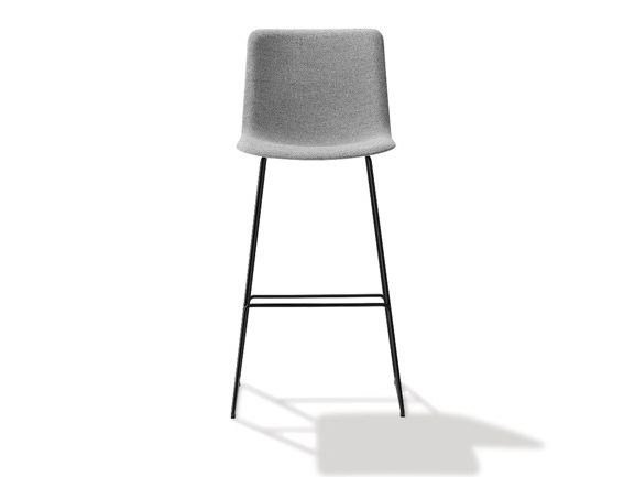 High upholstered sled base stool PATO | Upholstered stool by FREDERICIA FURNITURE