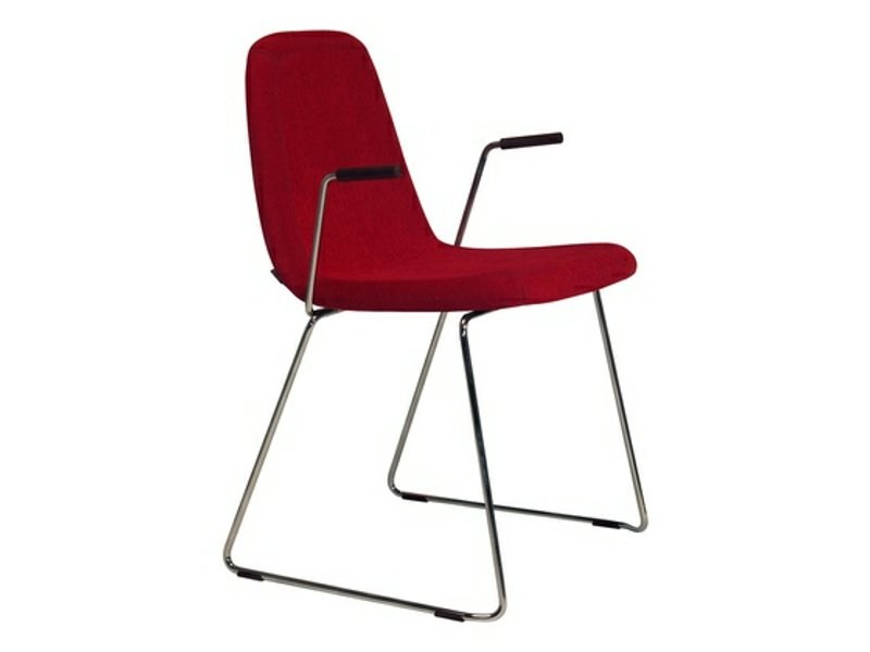 Sled base upholstered chair with armrests SPORT | Chair with armrests - Johanson Design