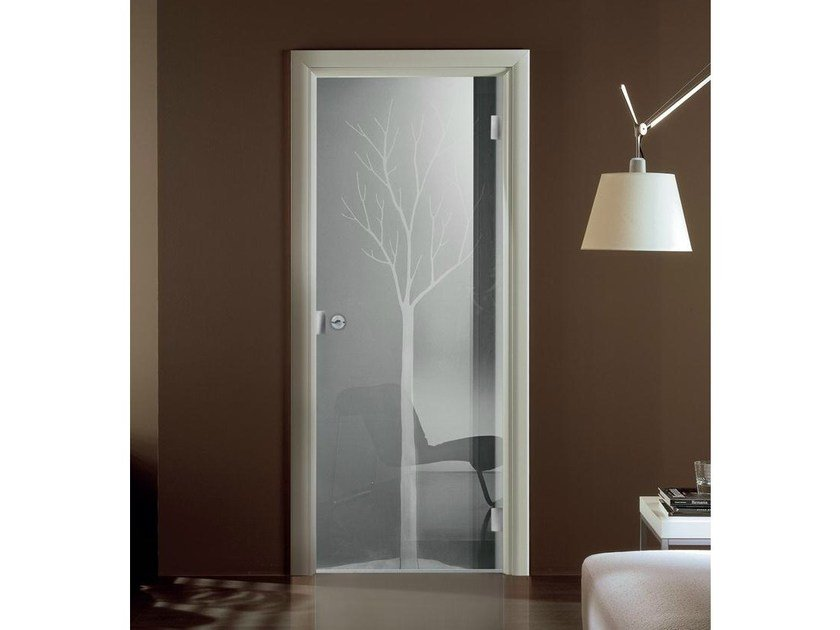 Hinged decorated glass door IO | Decorated glass door - GAROFOLI