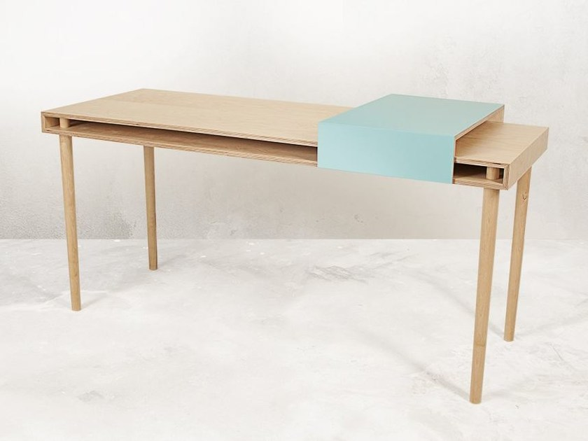 Rectangular multi-layer wood writing desk COULISSE - MALHERBE EDITION