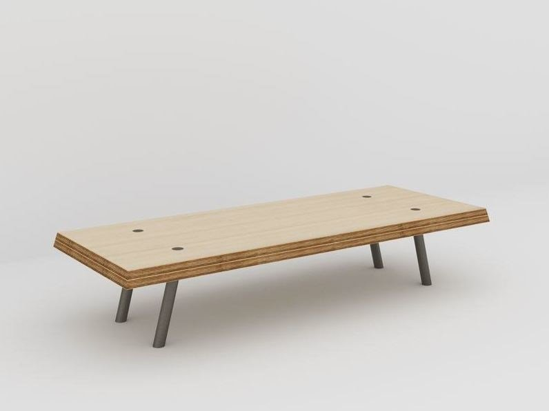 Rectangular coffee table L'ACIER BISEAUTÉE by MALHERBE EDITION