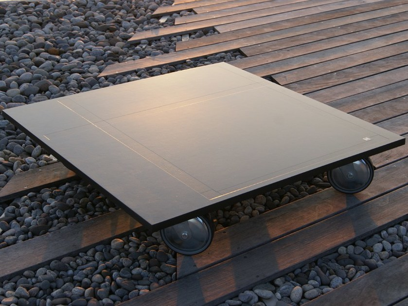 Square fiber-reinforced concrete coffee table with casters INDUS by MALHERBE EDITION