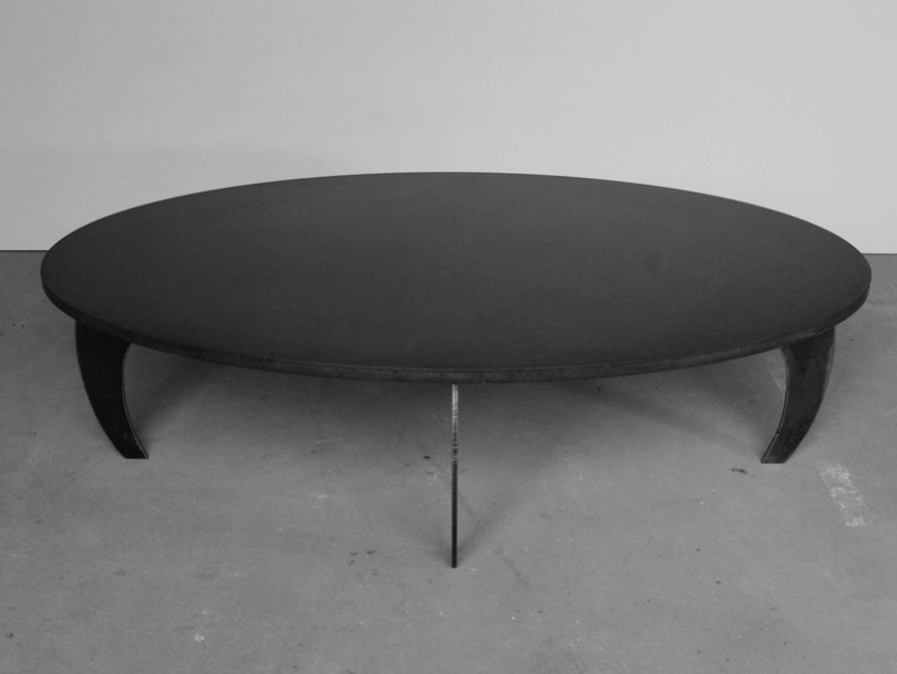 Oval fiber-reinforced concrete coffee table L'Ellipse E² - MALHERBE EDITION