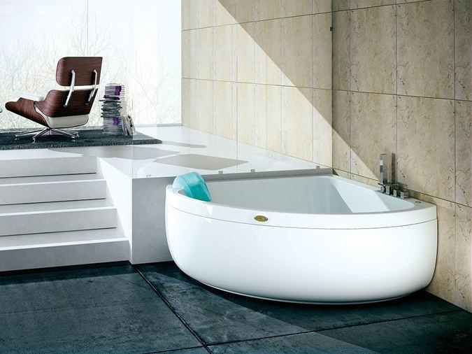 Corner whirlpool bathtub for chromotherapy AQUASOUL CORNER 140 | Bathtub - Jacuzzi Europe