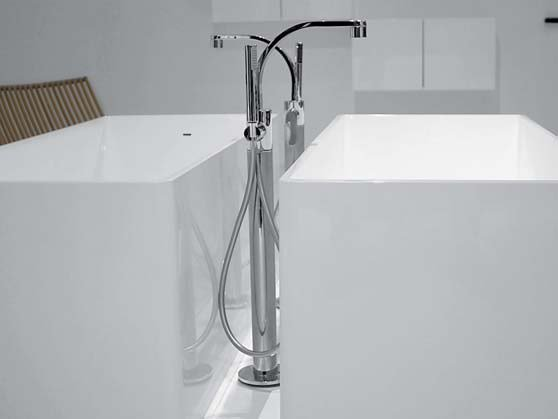 Floor standing bathtub mixer with hand shower ONE | Floor standing bathtub mixer - CERAMICA FLAMINIA