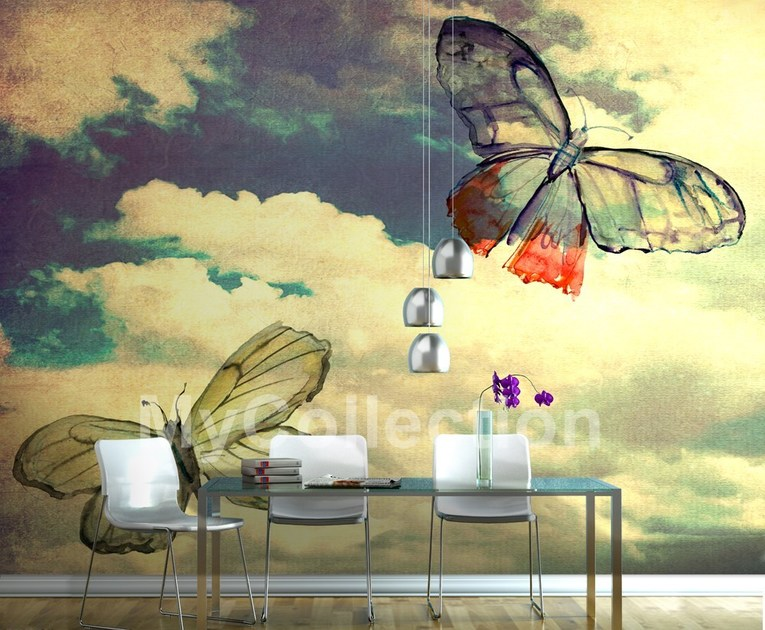 Motif panoramic landscape wallpaper BUTTERFLIES by MyCollection.it