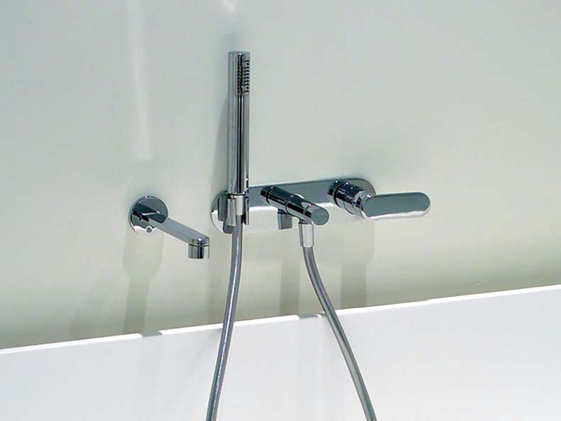 Wall-mounted bathtub mixer with hand shower ONE | Wall-mounted bathtub mixer by CERAMICA FLAMINIA