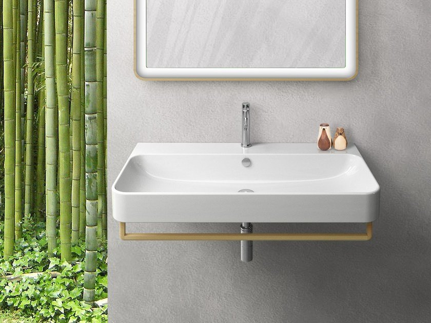 Wall-mounted ceramic washbasin with towel rail GREEN | Wall-mounted washbasin - CERAMICA CATALANO
