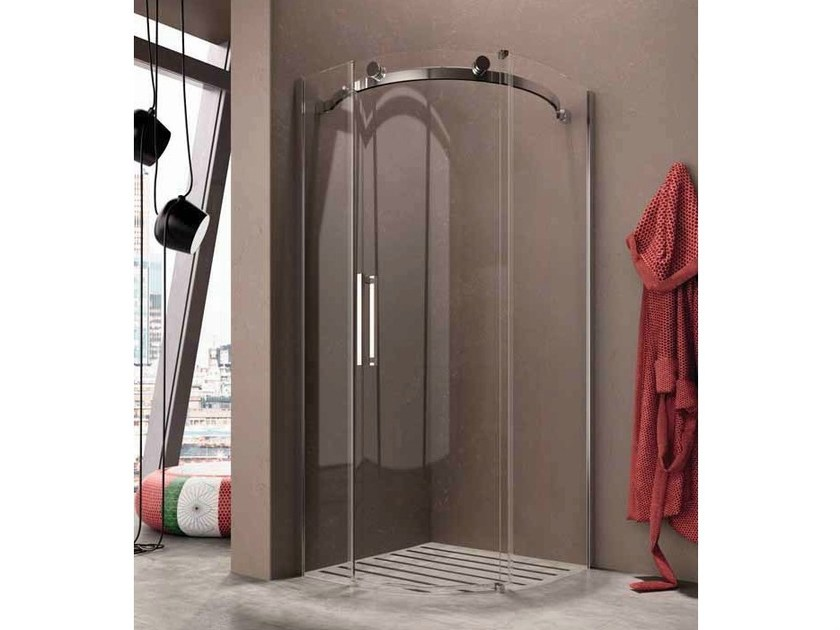Corner semicircular shower cabin with sliding door FLUIDA | Semicircular shower cabin - Glass 1989
