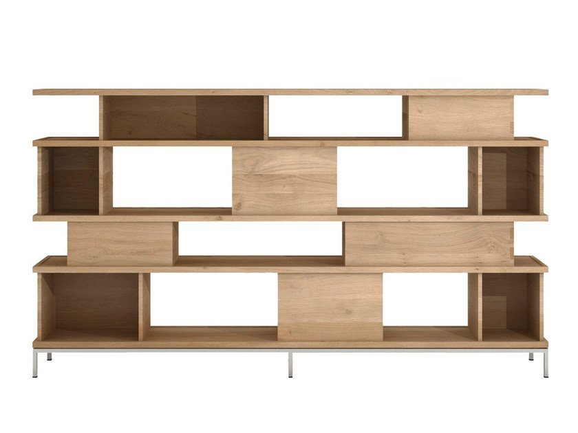Open double-sided solid wood bookcase OAK LIGNA | Bookcase - Ethnicraft