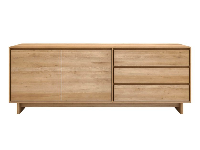 Solid wood sideboard with doors with drawers OAK WAVE | Sideboard by Ethnicraft