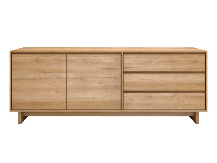 Solid wood sideboard with doors with drawers OAK WAVE | Sideboard - Ethnicraft