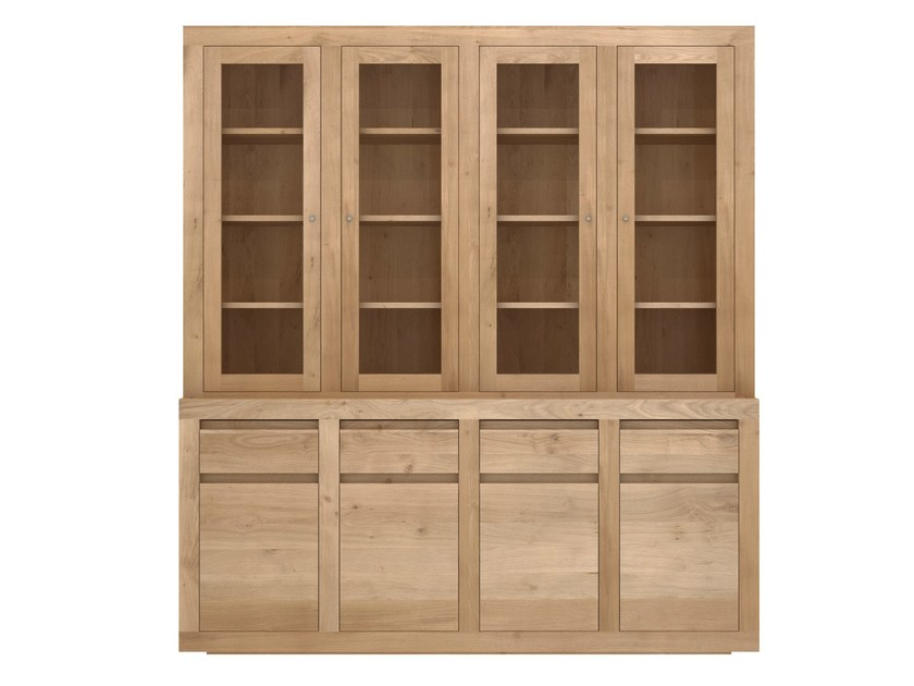Wooden and glass highboard with doors and drawers OAK FLAT | Oak highboard - Ethnicraft