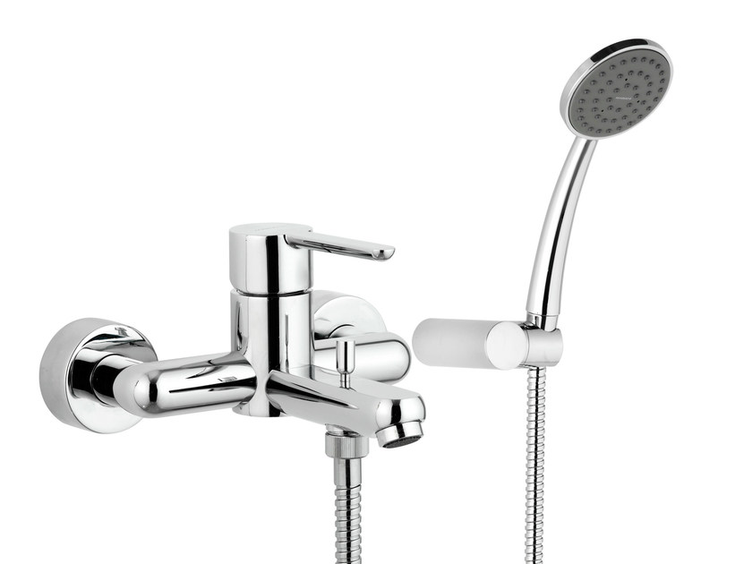 Wall-mounted single handle bathtub mixer with hand shower NOIR | Bathtub mixer - Rubinetterie Mariani