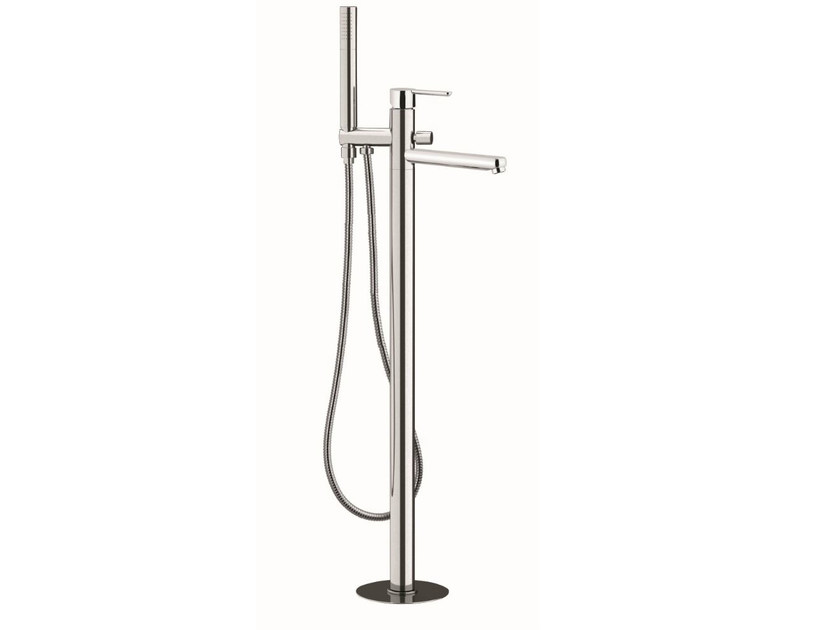 Floor standing single handle bathtub mixer with hand shower NOIR | Floor standing bathtub mixer - Rubinetterie Mariani