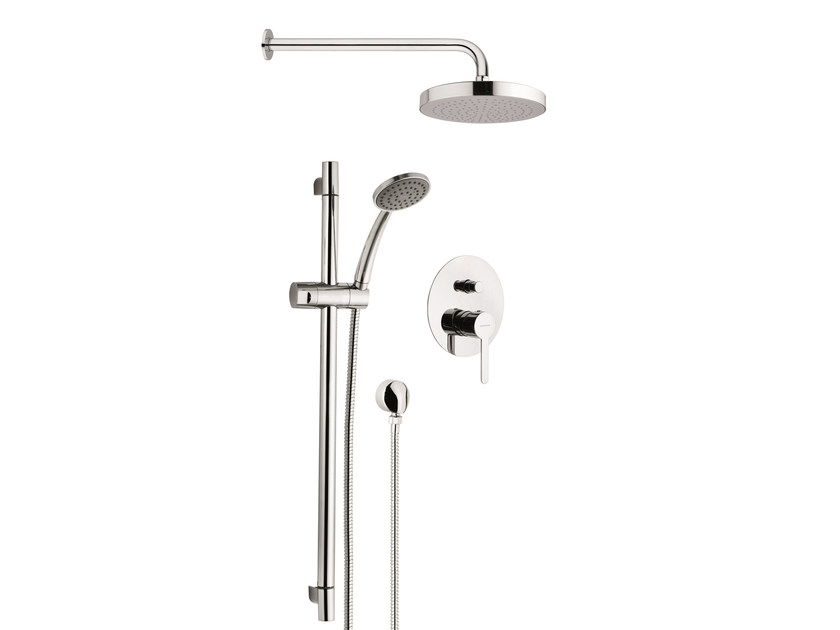 Shower set with INOX showerhead and rail shower kit NOIR by Rubinetterie Mariani
