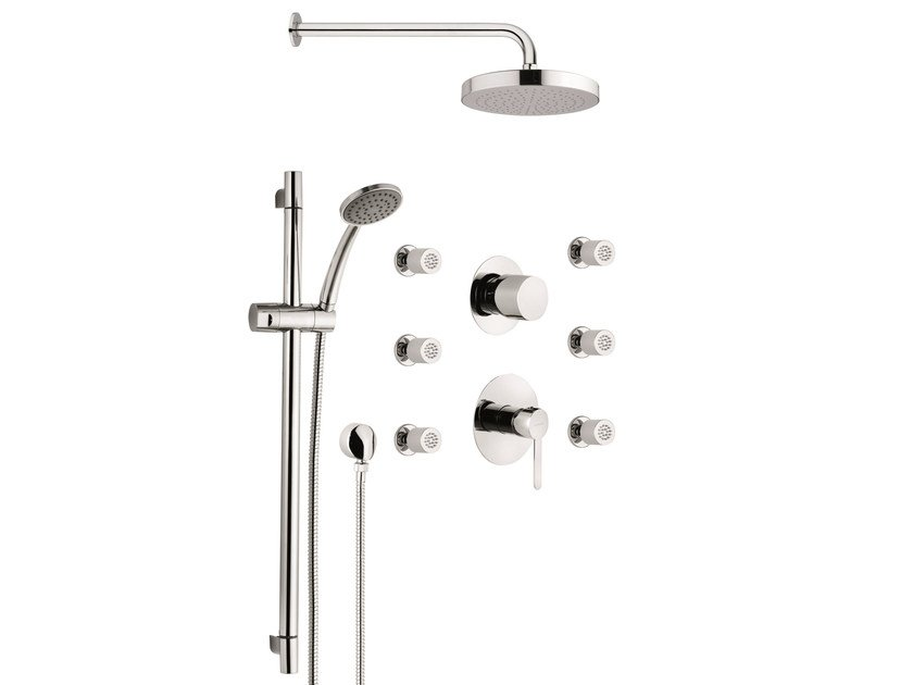 Shower set with showerhead, multijets and shower rail NOIR - Rubinetterie Mariani
