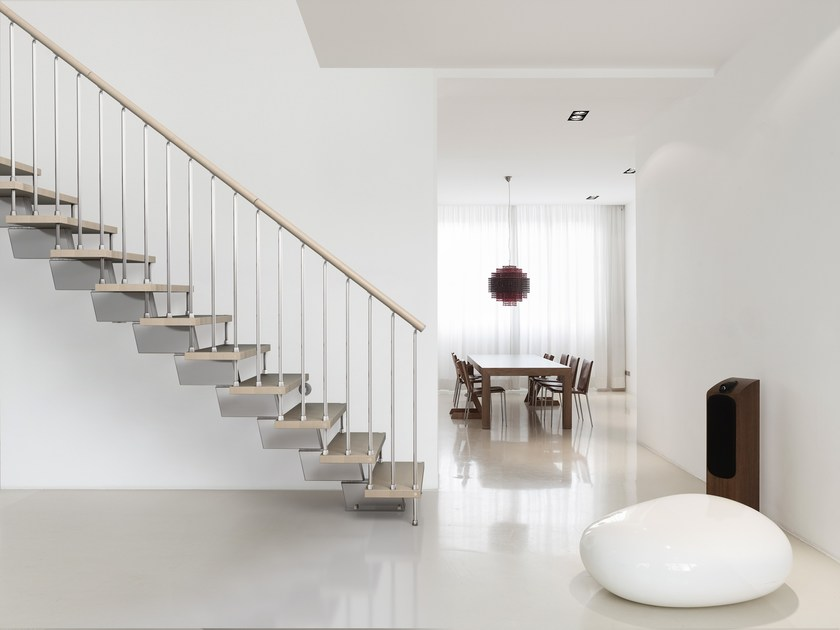 L-shaped U-shaped self supporting steel cantilevered staircase GENIUS 030 | Open staircase - Fontanot Spa