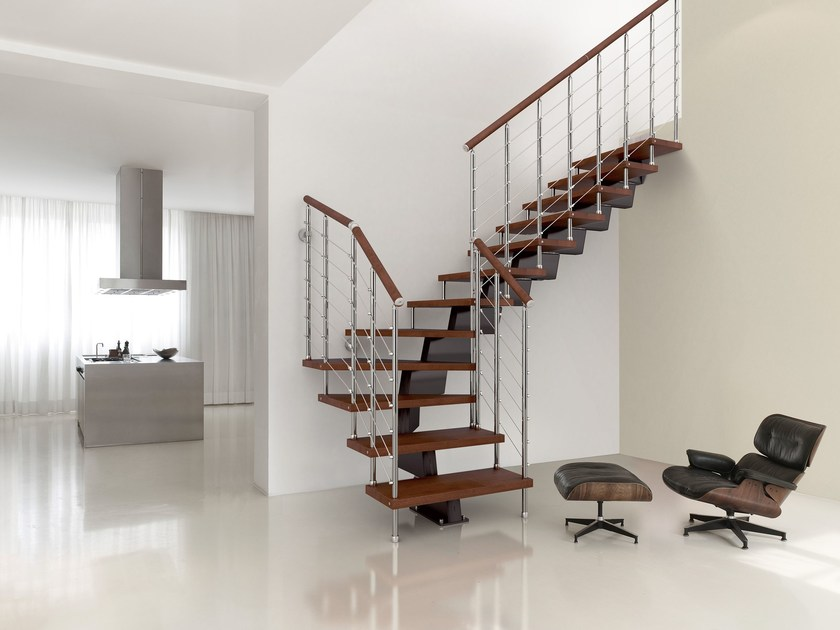 L-shaped U-shaped self supporting steel cantilevered staircase GENIUS 050 | Open staircase - Fontanot Spa