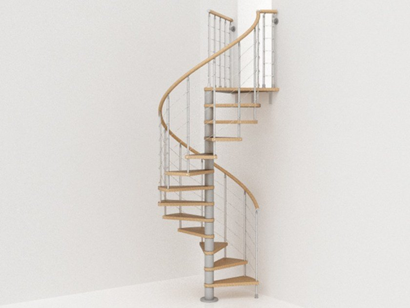 Stainless steel and wood Spiral staircase GENIUS 040 | Spiral staircase - Fontanot Spa