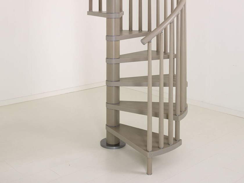 Stainless steel and wood Spiral staircase GENIUS 070 | Spiral staircase by Fontanot Spa