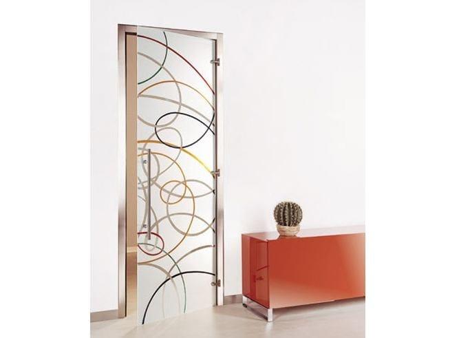 Porta a battente in vetro decorato aura dipinta collezione for Porta vetro battente