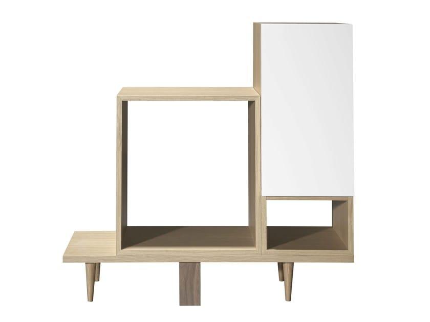 Open wood veneer bookcase WILD V2 - AZEA