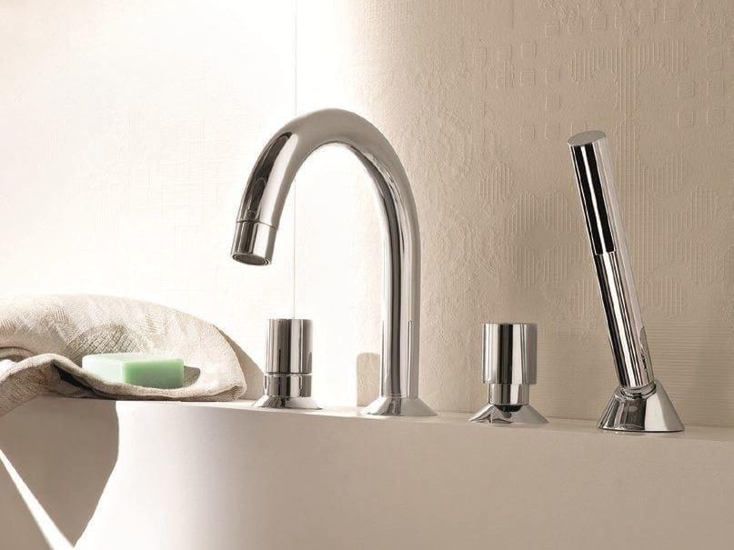 4 hole bathtub set with hand shower NOSTROMO - 1665 - Fantini Rubinetti