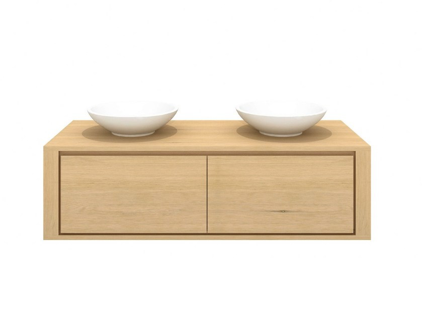 Double wall-mounted solid wood vanity unit with drawers OAK SHADOW | Double vanity unit - Ethnicraft