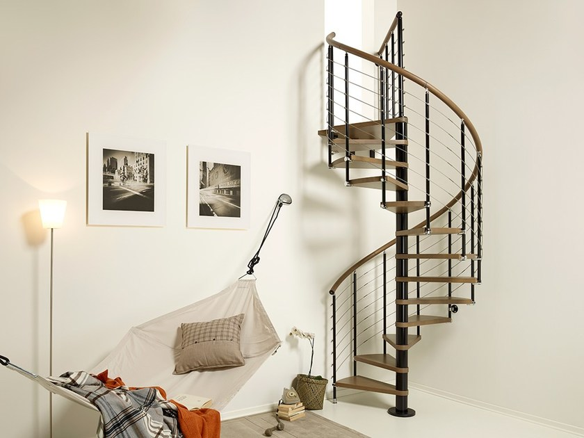 Steel and wood Spiral staircase PIXIMA RING TUBE - Fontanot Spa