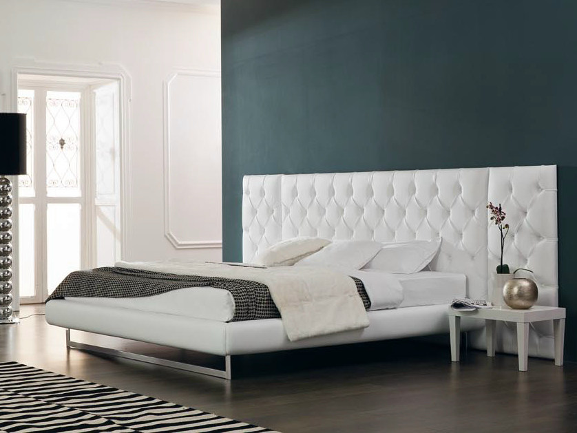 Bed with tufted headboard class capitonn class collection by valmori - Wit bed capitonne ...