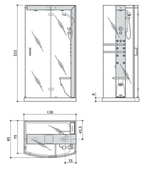 Box doccia con bagno turco con idromassaggio mynima 120 jacuzzi europe - Mobili bagno dwg ...