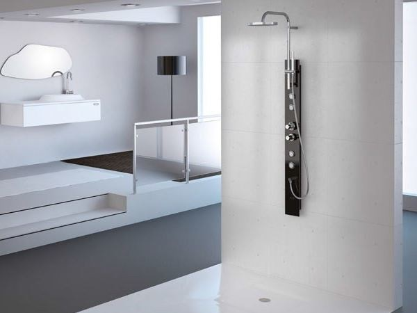 Multifunction hydromassage shower panel with hand shower SENSE by Jacuzzi Europe