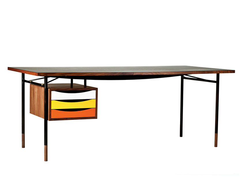 Rectangular wooden writing desk with drawers NYHAVN - Onecollection